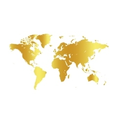 Golden color world map on white background Globe vector image
