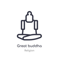 Great buddha outline icon isolated line from vector