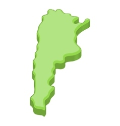 Green map of argentina icon cartoon style vector