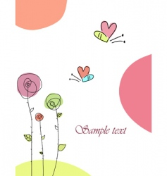 Greeting card with butterfly vector