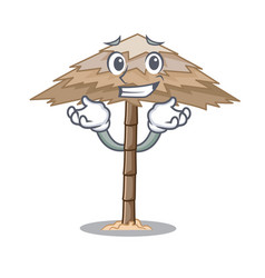 Grinning character tropical sand beach shelter vector