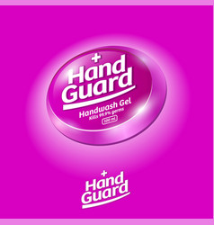 Hand guard logo antiseptic virus protection label vector