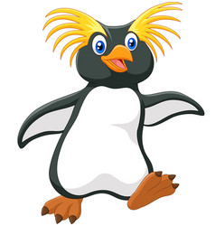 happy cartoon penguin rockhopper cartoon vector image