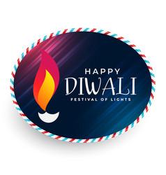Happy diwali diya label design vector