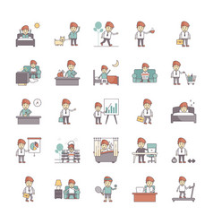 Happy salaryman daily life routine pack vector