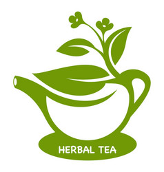 Herbal tea teapot eco product logo vector