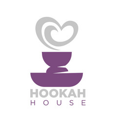 Hookah house emblem with shisha bowl and smoke vector