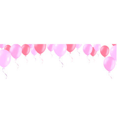 horizontal banner with pink rose helium balloons vector image