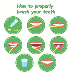 How to property brush your teeth step-by-step vector