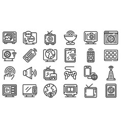 Interactive tv icons set outline style vector
