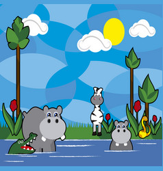Jungle animals cartoon 7 vector