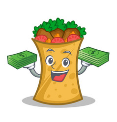 Kebab wrap character cartoon with money vector