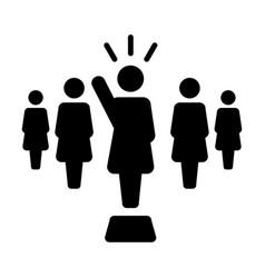 Leader icon female public speaker person symbol vector