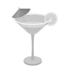 Lemon cocktail icon in monochrome style isolated vector image