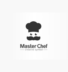 master chef creative symbol concept cook face vector image