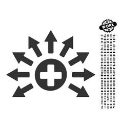 Medical distribution icon with work bonus vector