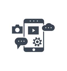 mobile seo glyph icon vector image