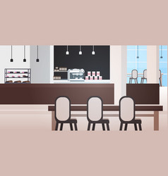 Modern cafe interior empty no people restaurant or vector