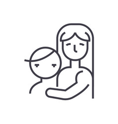 mother with childmotherhood line icon vector image