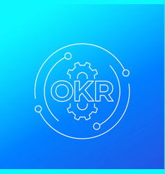 okr objectives and key results line vector image