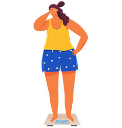 Overweight attractive sad woman standing on vector