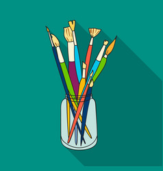 paintbrushes for painting in the jar icon in flat vector image