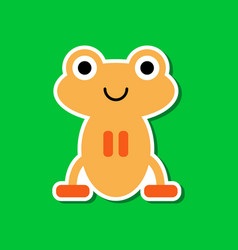 Paper sticker on stylish background frog cartoon vector