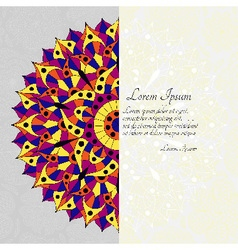 Pattern with chakra manipura and text place vector