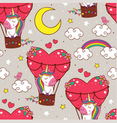 pattern with cute unicorn is flying in a balloon vector image