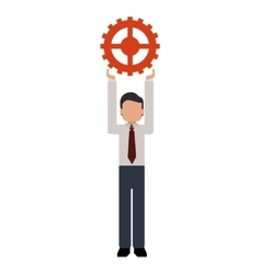 person holding gear icon vector image