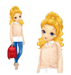 Pretty girl with red backpack vector
