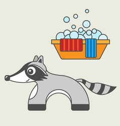raccoon cartoon style art for kids vector image