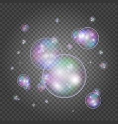 rainbow round soap bubbles vector image