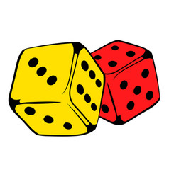 Red and yellow dice icon icon cartoon vector