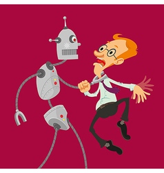 robot attacked man vector image