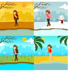 Sad lonely girl multiple season scene graphic vector