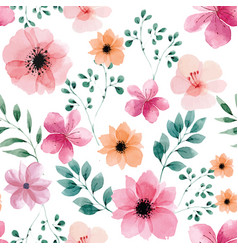 seamless pattern with spring flowers and leaves vector image