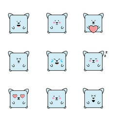 set emoticons with cat personaje vector image