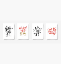 set of 4 hand lettering posters on a white vector image