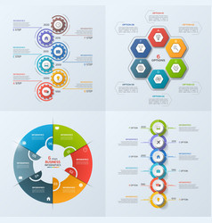 set of 4 infographic templates with 6 options vector image