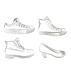 Set of hand drawn men and women shoes vector image