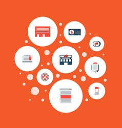 set of marketing icons flat style symbols with ads vector image