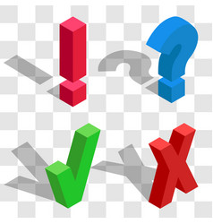 set question and exclamation sign cross mark and vector image