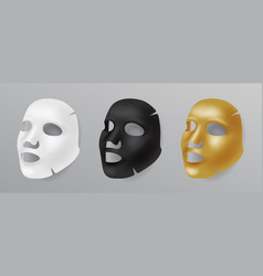 Set white gold and black face mask cosmetic vector