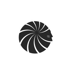 Silhouette head american indian face logo male vector