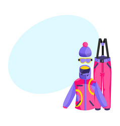 skiing snowboarding outfit - jacket pants vector image