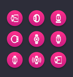 smart watch icons set wearable devices gadgets vector image