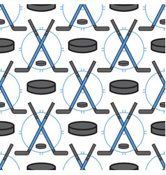 sport hockey icons in flat design line pictogram vector image