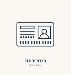 Student access card identity flat line vector