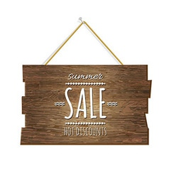 Summer Sale Wooden Board vector image